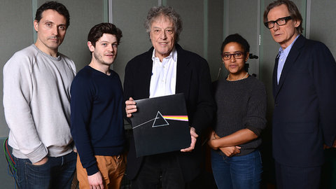 "Tom Stoppard, center, and the cast members of ""Dark Side,"" including Rufus Sewell, left, and Bill Nighy, right."