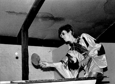 David Bowie playing ping pong in a kimono