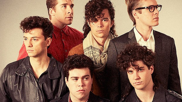 Clockwise: Hugh Sheridan (top left) as bass guitarist Garry Gary Beers, Luke Arnold as Michael Hutchence, Alex Williams as Kirk Pengilly, newcomer Nicholas Masters plays Tim Farriss, Andy Ryan as Andrew Farriss and Ido Drent as Jon Farriss.