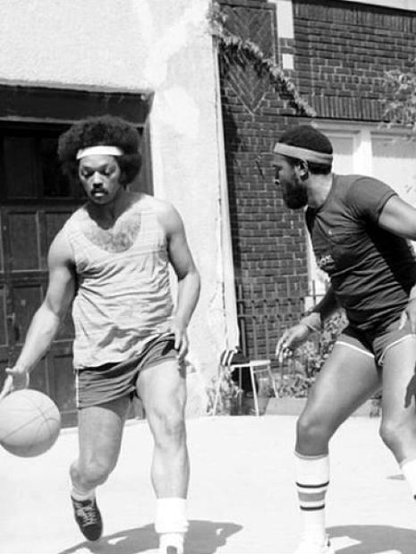 The Reverend Jesse Jackson and Marvin Gaye playing basketball in 1976