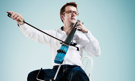 Barely there: Peter Gregson plays a futuristic cello. Photograph: Shamil Tanna
