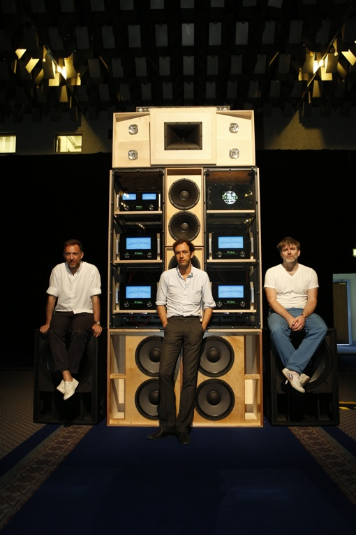 This Is Happening: From left Stephen Dewaele and David Dewaele (of 2ManyDJs and Soulwax) and James Murphy who teamed up with audiotech engineer John Klett and McIntosh Laboratory for Despacio on a custom-built sound system that debuted last week at the Manchester International Festival.