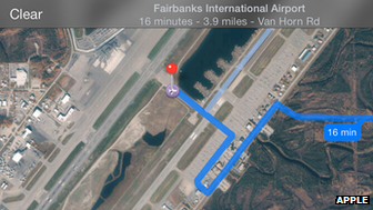 Apple's Maps app directed motorists to one of Fairbanks airport's runways rather than its car park