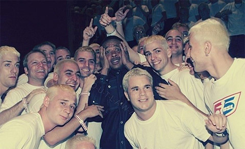 "Surrounded by faux-Eminems on the set of the real Eminem's ""The Real Slim Shady"" shoot"
