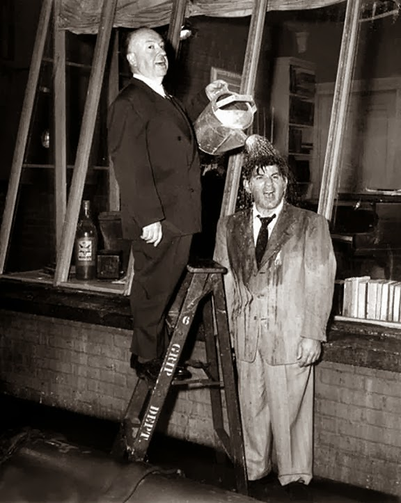 Alfred Hitchcock and Ross Bagdasarian on the set of Rear Window