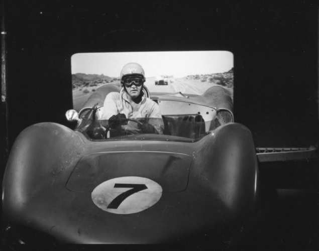Elvis Presley behind the wheel of a 1962 Elva Mk. VI