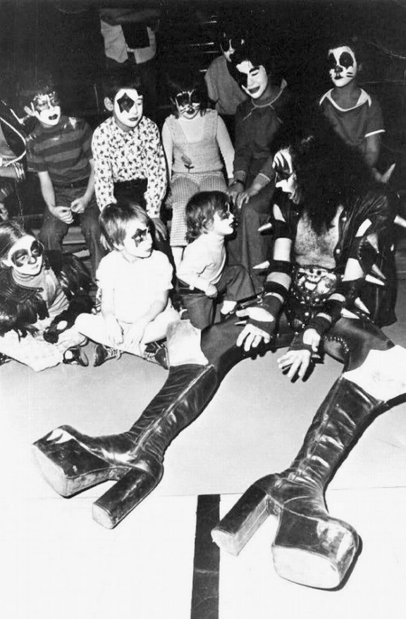 Gene Simmons Hanging Out with Miniature Kiss Fans, 1970s
