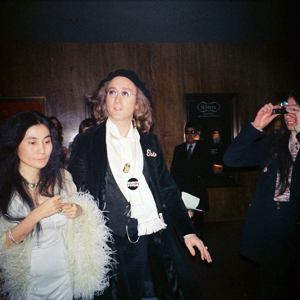 John Lennon and Yoko Ono attend the 1975 Grammy's (7)