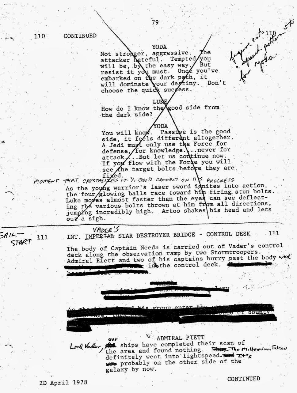 Lawrence Kasdan's Handwritten Screenplay for The Empire Strikes Back (2)