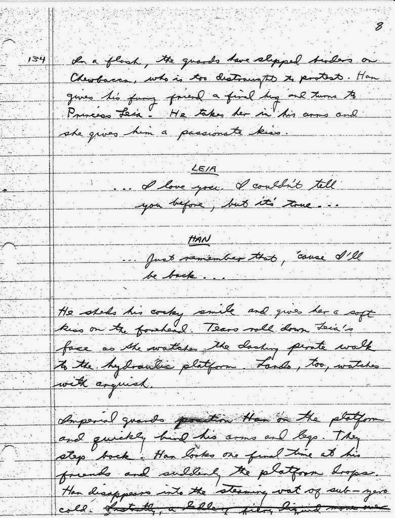 Lawrence Kasdan's Handwritten Screenplay for The Empire Strikes Back (5)
