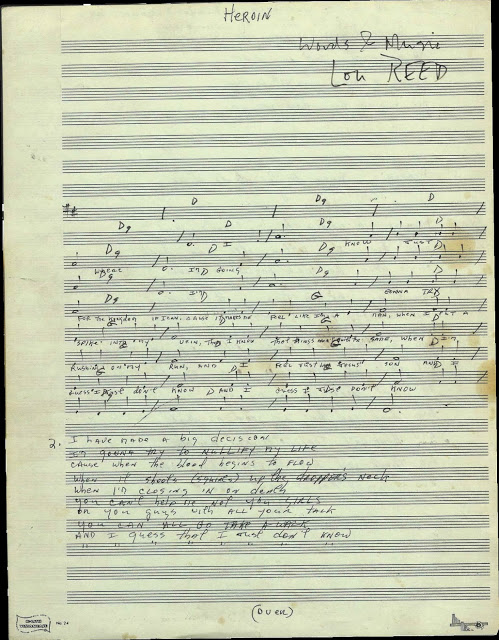 Lou Reed's compositional manuscript with chords and lyrics to Heroin