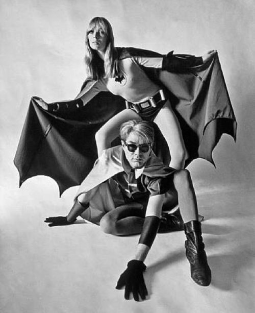 Nico and Andy Warhol as Batman and Robin for Esquire, 1967 (1)