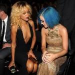 Nice Grammys! Katy Perry couldn't resist gazing at pal Rihanna's daringly cut dress at the 34th Annual Grammy Awards tonight