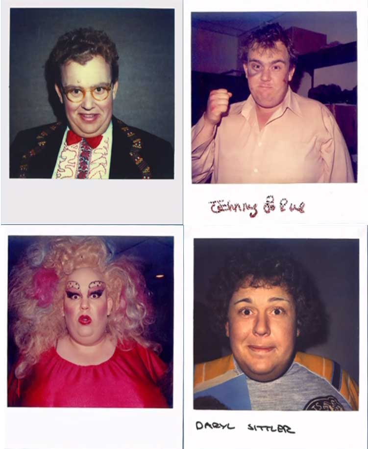 John Candy's wardrobe polaroids from the Canadian sketch comedy Second City Television.