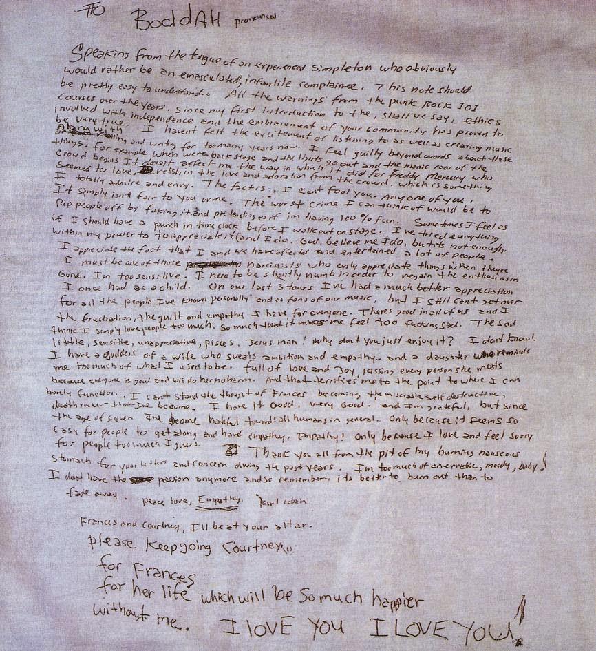 Kurt Cobain's Suicide Note