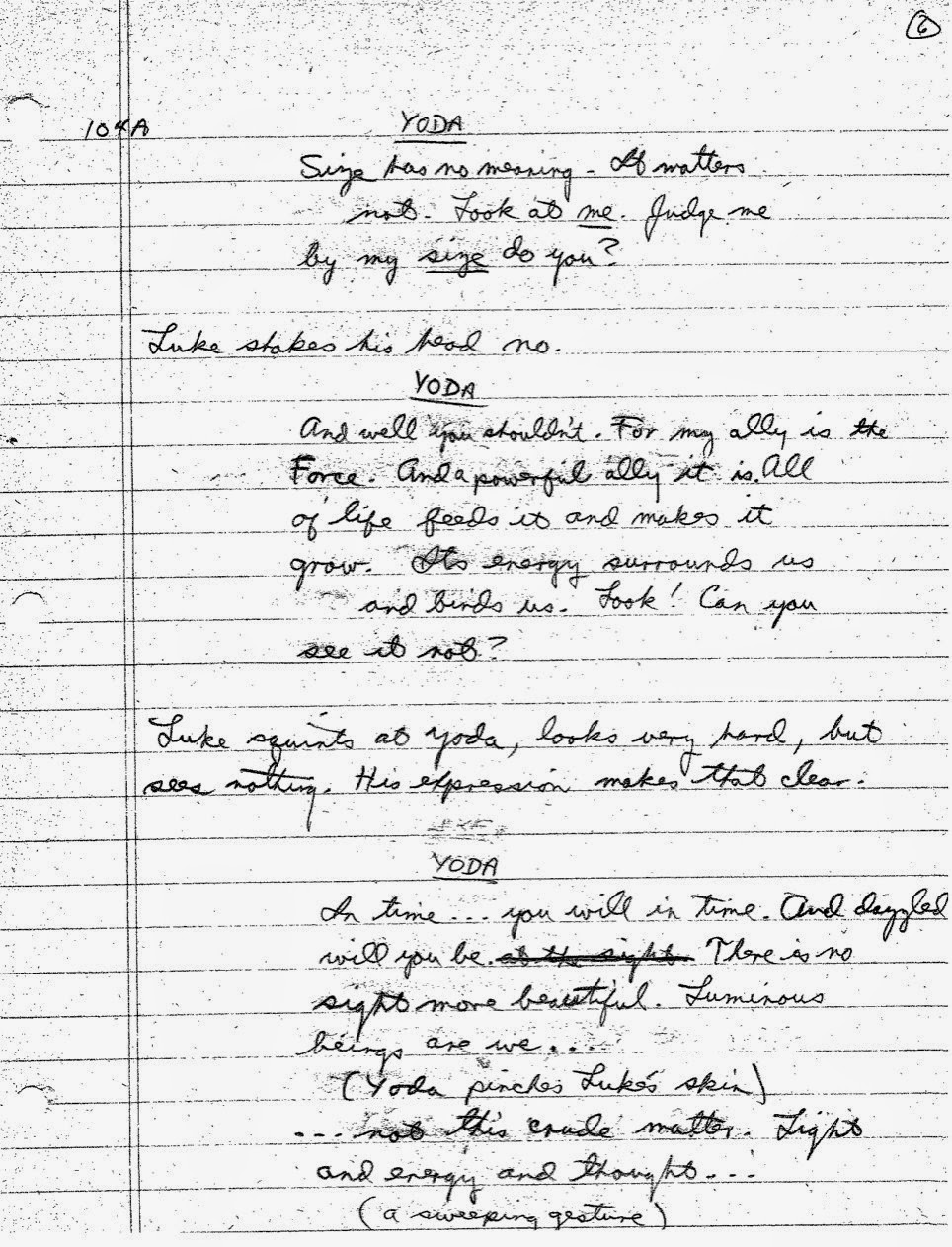 Lawrence Kasdan's Handwritten Screenplay for The Empire Strikes Back (1)
