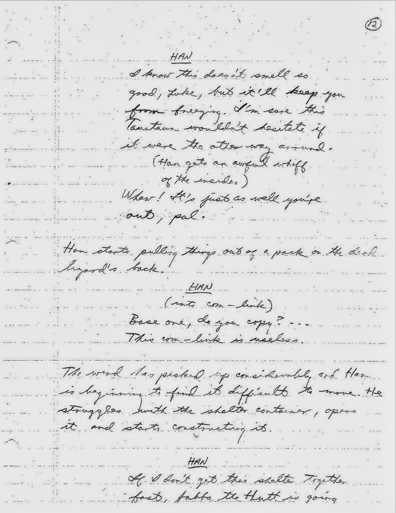 Lawrence Kasdan's Handwritten Screenplay for The Empire Strikes Back (3)