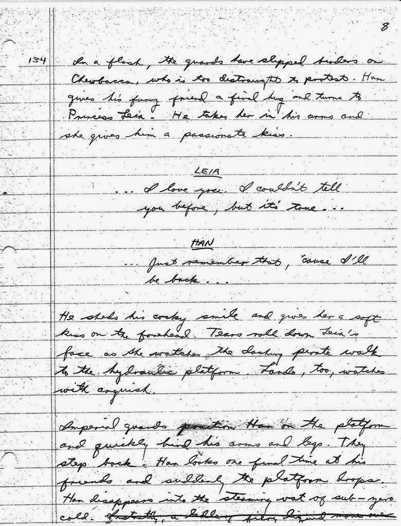 Lawrence Kasdan's Handwritten Screenplay for The Empire Strikes Back (5)