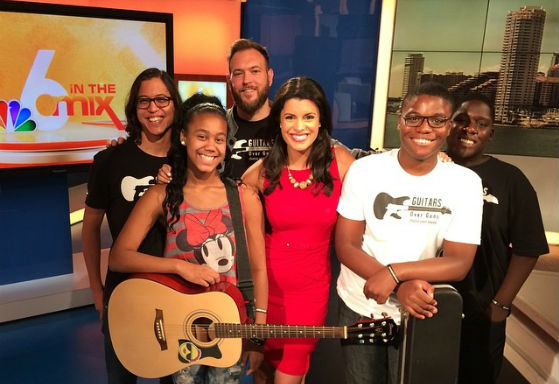 Guitars Over Guns' Chad Bernstein with young musicians at the NBC 6 South Florida studios.