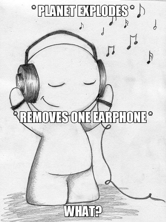 Funny Drawing Listening Earphones Music That Eric Alper
