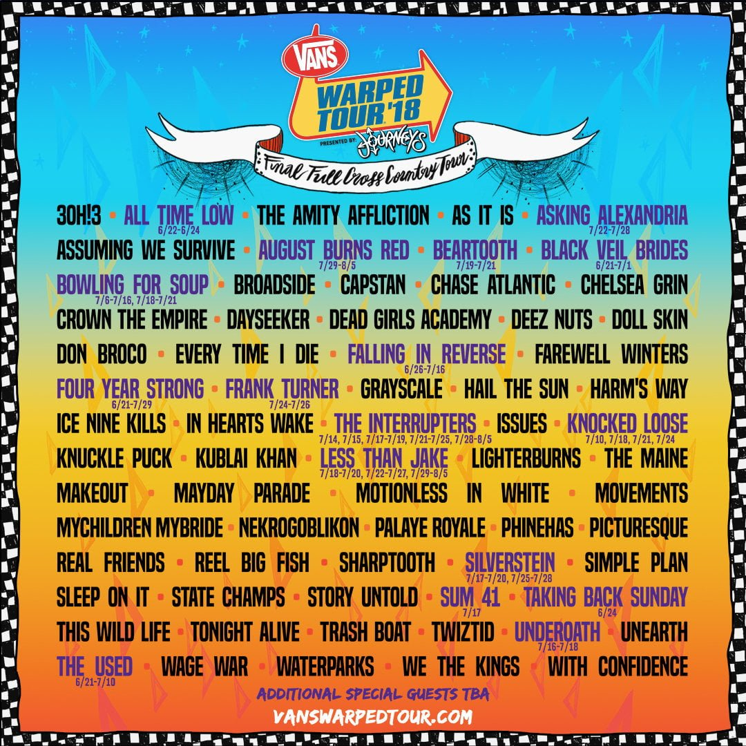 ae7e89a2b3 2018 Vans Warped Tour Lineup Revealed - That Eric Alper