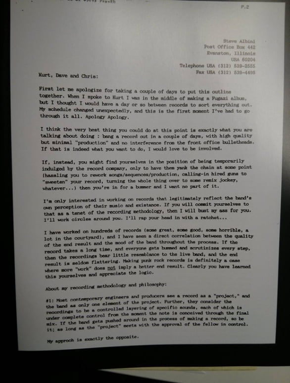 Steve Albini S Four Page Proposal To Produce Nirvana S In
